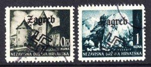 CROATIA WW2 ZAGREB OVERPRINTS x2 CDS F/VF TO VF SOUND
