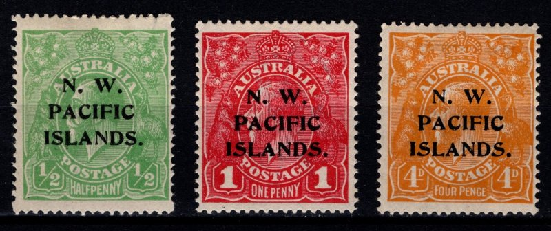 North West Pacific Islands 1915-18 Australia Optd 1/2d, 1d, 4d [Unused]