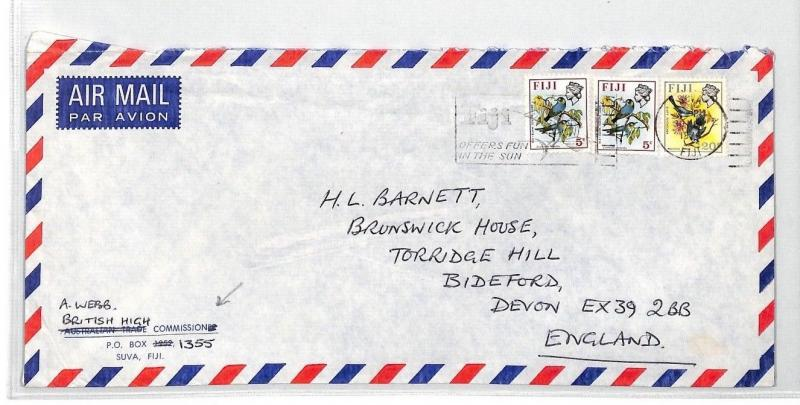 BT278 1976 Fiji Suva Commercial Air Mail Cover {samwells}PTS