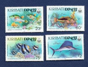 KIRIBATI - Scott 587-590 - FVF MNH - Fish - Expo92 Stamp Show - 1992