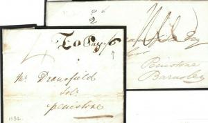 GB Yorks Penistone *Additional Local Post Charge* 1830s {samwells-covers} P87a