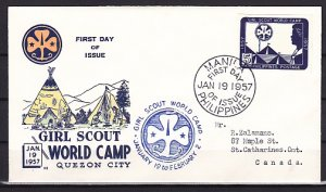 Philippines, 637a. Girl Scouts World Camp, IMPERF issue. First day cover. ^
