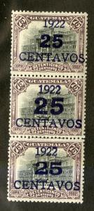 GUATEMALA 192, 192a (2) MH STRIP/3 SCV $1.20 BIN $0.60 ARCHITECTURE