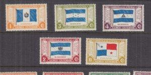 GUATEMALA, 1938 Philatelic Exhibition set from Souvenir Sheet ex 5c., lhm. (5)