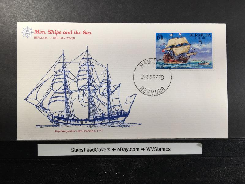 Bermuda FDC 26 Sep 1977 Ship Designed for Lake 17th Century Ship Unaddressed