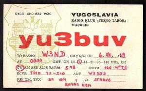 QSL QSO RADIO CARD yu3buv,1969,Yugoslavia (Q1864)
