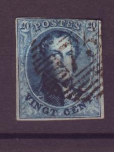 J21285 Jlstamps 1858-61 belgium used #11 imperf king