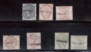 Great Britain SG #187s - #191s #193s #194s Mint With Specimen Overprints