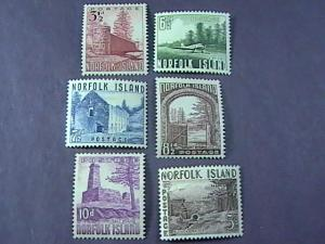 NORFOLK ISLAND # 13-18 -MINT/HINGED-COMPLETE SET---QEII----1953