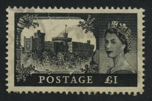 01906 Great Britain Scott #312 1-pound intense black used, light cxl lg margins