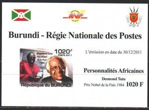 Burundi. 2011. black impression. Tutu, Nobel Peace Laureate. MNH.