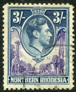NORTHERN RHODESIA-1938-52 3/- Violet & Blue Sg 42 FINE USED V48293