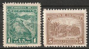 Colombia 1935 Sc 441-2 set MNH** 441 major crease
