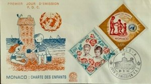 Monaco Claiming Human Rights Stamps 4 Stamp with UN Logo on 2 covers