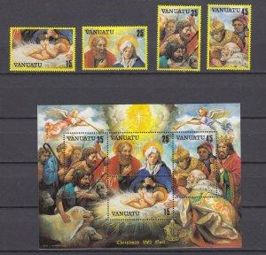 Z4115, 1982 vanuatu set + s/s mnh #342-5a art