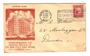 New Zealand Sc#186A on Souvenir Cover - Dunedin Chief Post Office Opening