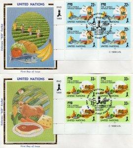UN NY FDC #519-520 IFAD Inscription Blocks, Colorano (0533)