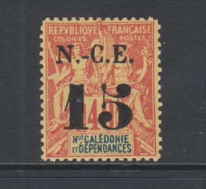 New Caledonia Sc 65 MLH. 1902 15c on 40c Navigation & Commerce, Fournier Forgery