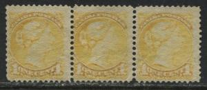 Canada 1870 1 cent Small Queen Long Strand of Hair in a strip of 3 unused