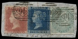 GREAT BRITAIN 1850's Tri-color franking on small piece, incl. #28, used
