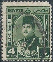 Egypt 245 (used, pulled corner) 4m King Farouk, dp grn (1945)