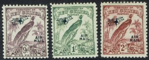 NEW GUINEA 1932 UNDATED BIRD AIRMAIL 9D 1/- AND 2/-