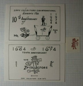 Zip Collectors Anniversary 1974 ZCCI Philatelic Souvenir Ad Label