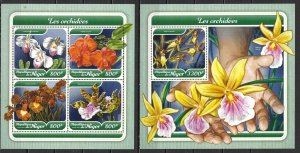 Niger SW 5388-92 Orchids m/s and s.s. MNH (lib)
