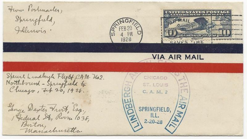 LINDBERGH Cover L40 Combo Springfield, IL February 20, 1928