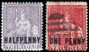 Trinidad Scott 63-64 (1882) Mint/Used H F-VF, CV $252.50