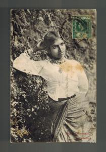 1913 Colombo Ceylon RPPC postcard Cover to France Sinhalese Woman