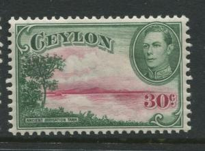 Ceylon -Scott 285 - KGVI Definitive Issue - 1938 - MVLH - Single 30c Stamp
