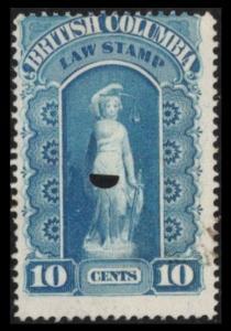 BRITISH COLUMBIA REVENUE 1879 10c #BCL1 BLUE FINE USED LAW STAMP CAT $4. (V502)