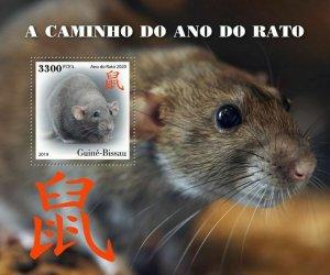 Z08 IMPERF GB191002b GUINEA BISSAU 2019 Year of the Rat 2020 MNH ** Postfrisch