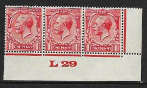 1d Scarlet Block Cypher Control L29 imperf UMOUNTED MINT/MNH