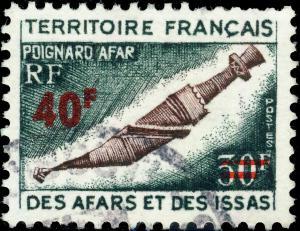 AFARS & ISSAS - 1975 - Yv.393 / Mi.114 40fr/30fr Poignard Afar - Obl. TB