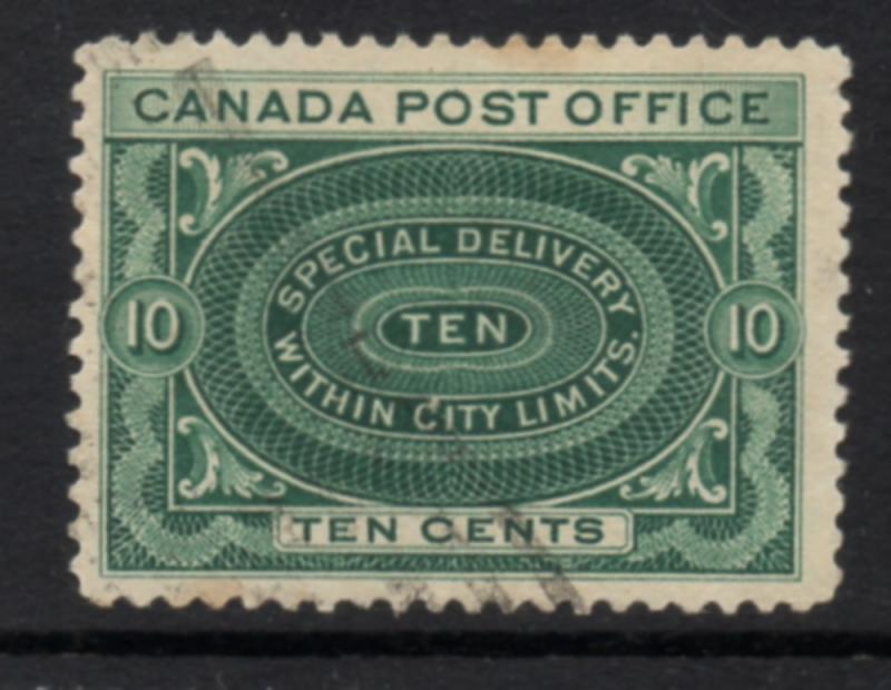 Canada Sc E1 1898 10c blue green Special Delivery stamp used