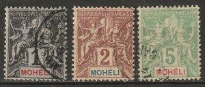 Moheli 1906 Sc 1,2,4 used (2 thins)