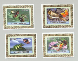 St Thomas & Prince 2007 Butterflies 4v Deluxe S/S