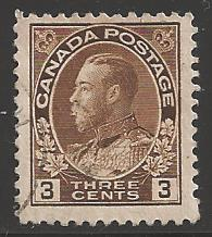 Canada 1911 King George V, 3 cents, Scott #108, used
