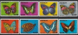 Paraguay MNH Set Of 8 Butterflies