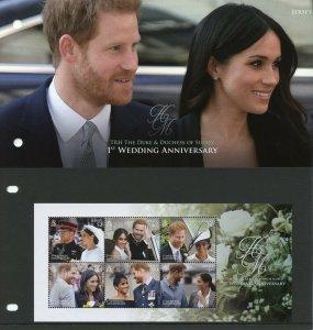 Jersey 2019 MNH Prince Harry Meghan 1st Wedding 6v M/S Pres Pack Royalty Stamps