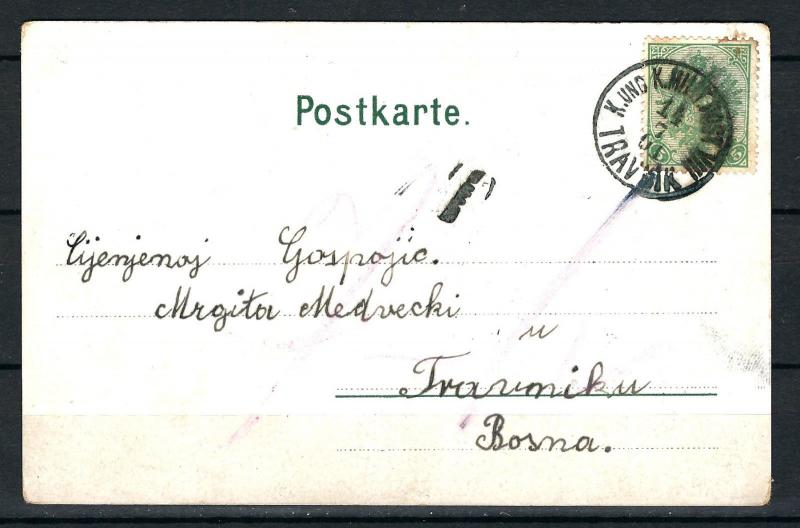 AUSTRIA BOSNIA PORTO on locco postcard Travnik