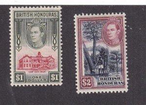 BRITISH HONDURAS # 124-125 VF-MLH KGV1 HIGH VALUES CAT VALUE $38.50