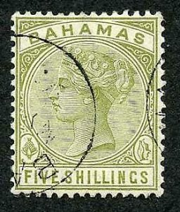 Bahamas SG56 5/- sage green  Cat 100 pounds