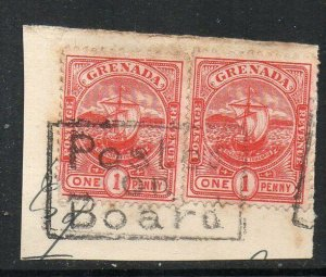 Grenada: 1906 Badge 1d x 2 on piece with 'Posted on Board' cachet