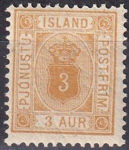 Iceland #O10  F-VF  Unused CV $15.00 (Z6418)