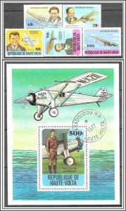 Upper Volta #462-467 History of Aviation Complete Set Souvenir Sheet CTO