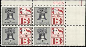 US #C62 13¢ LIBERTY BELL MNH UR PLATE BLOCK #26975 DURLAND $1.75