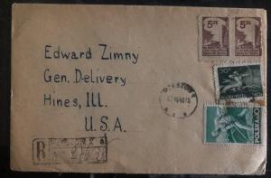 1948 Rzeszow Poland Post WWII Airmail Cover to Hines Ill USA